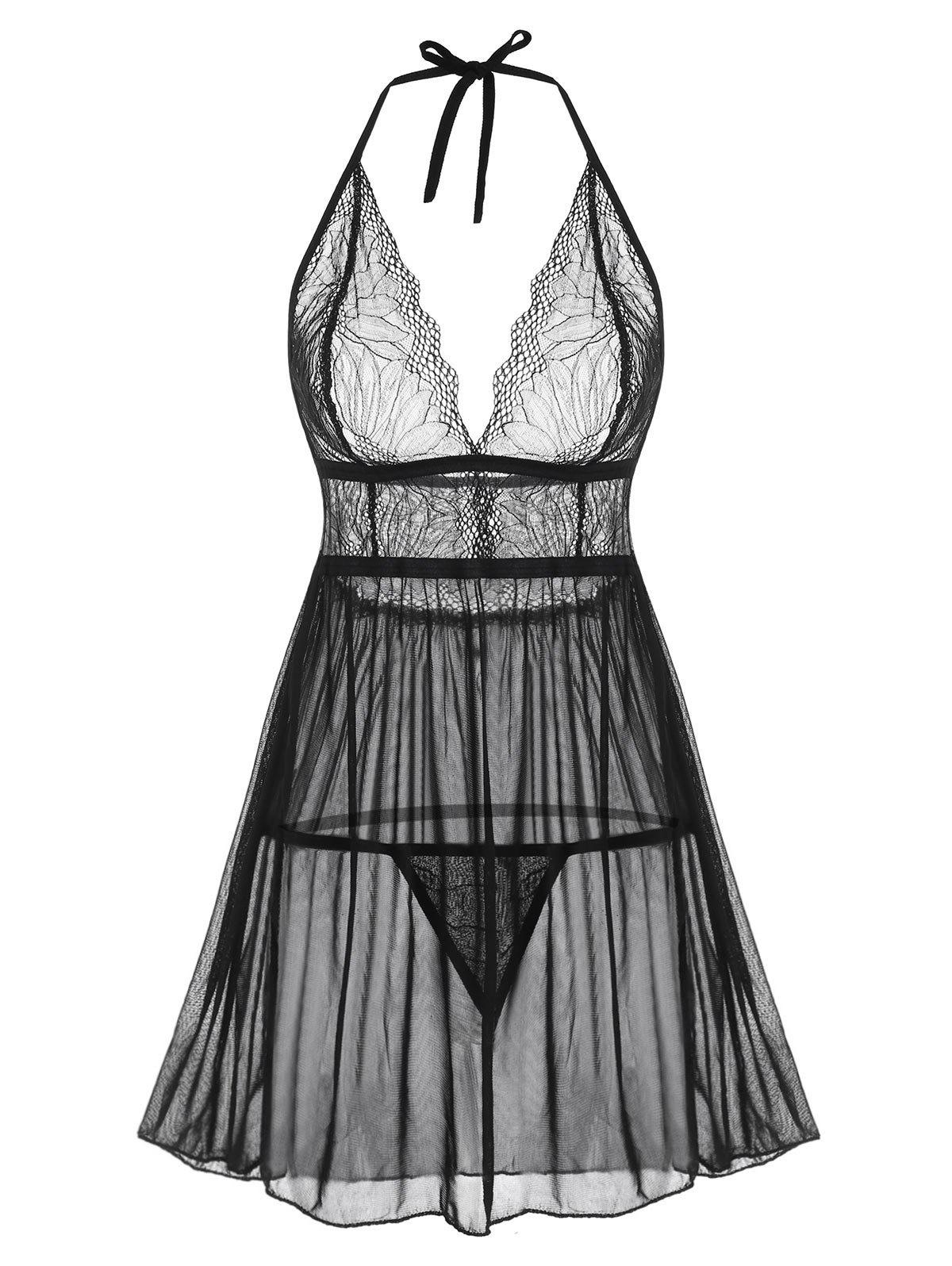 Chic Halter Lace and Mesh Babydoll Set