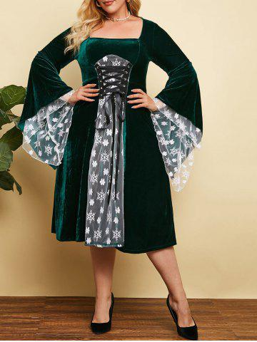 Plus Size Christmas Velvet Lace-up Snowflake Flare Sleeve Dress - DEEP GREEN - 4X