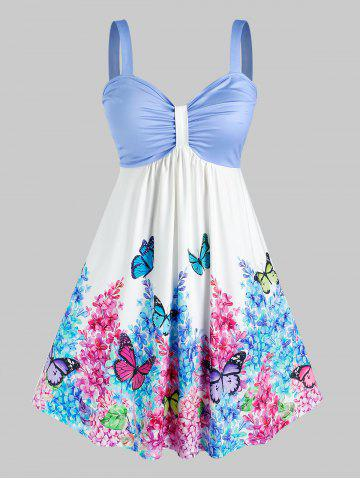 Plus Size Ruched Floral Butterfly Print Knee Length Dress - MULTI - L