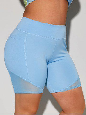 Stitching Side Pockets Yoga Plus Size Biker Shorts - LIGHT BLUE - 4XL