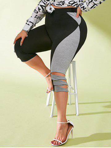 Plus Size Colorblock Ladder Cut Capri Pants