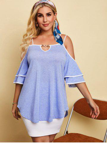 Plus Size Binding Cold Shoulder Keyhole Tunic Tee