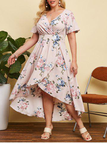 Plus Size High Low Floral Print Maxi Dress - LIGHT PINK - 4X