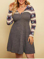 Plus Size Snowflake Hooded Knitted A Line Zip Dress -