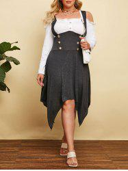 Plus Size Cold Shoulder Hanky Hem Frilled Sailor Button Dress -