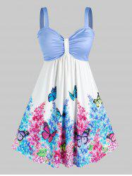 Plus Size Ruched Floral Butterfly Print Knee Length Dress -