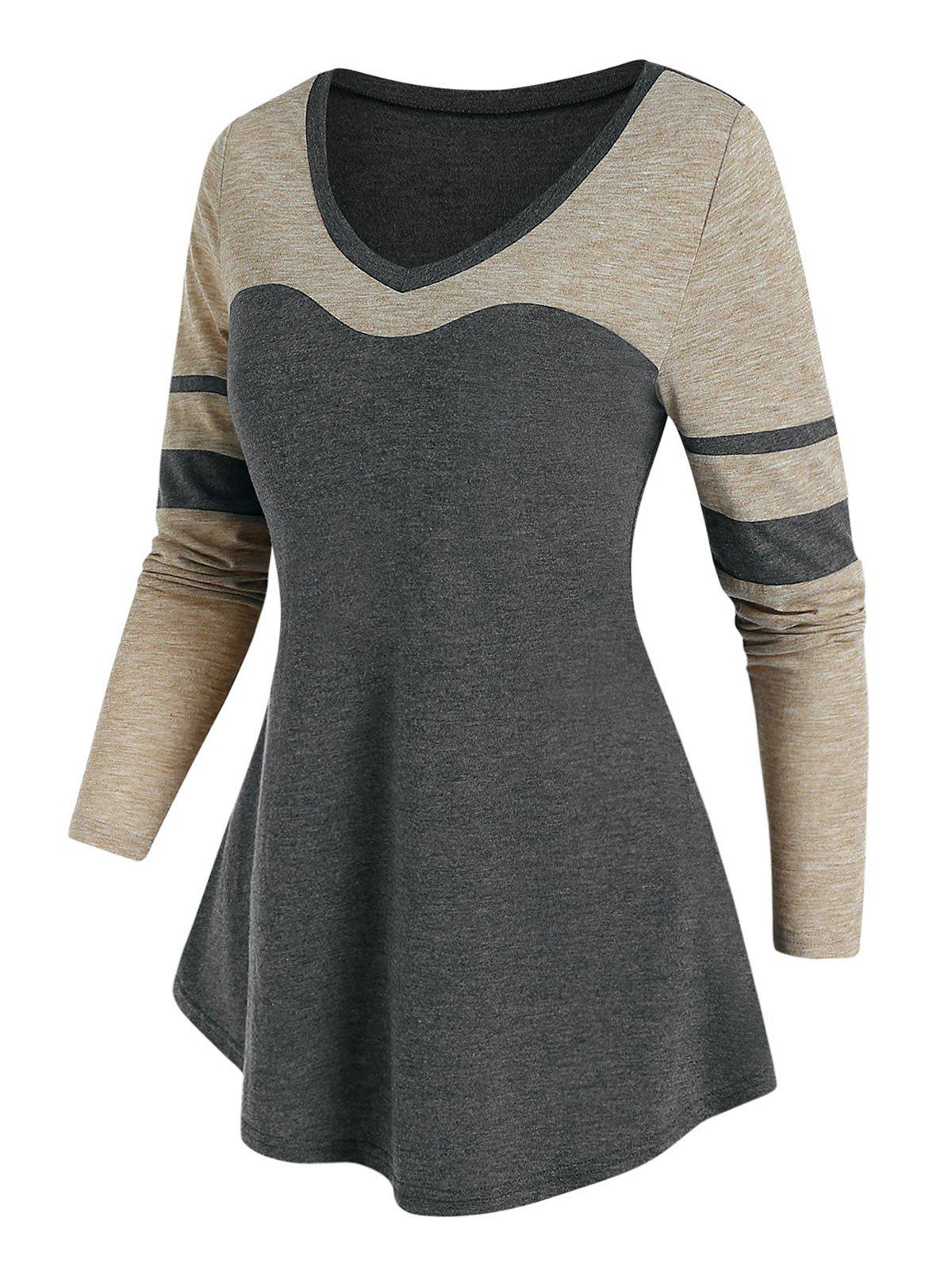 Hot Contrast Color Tunic T Shirt