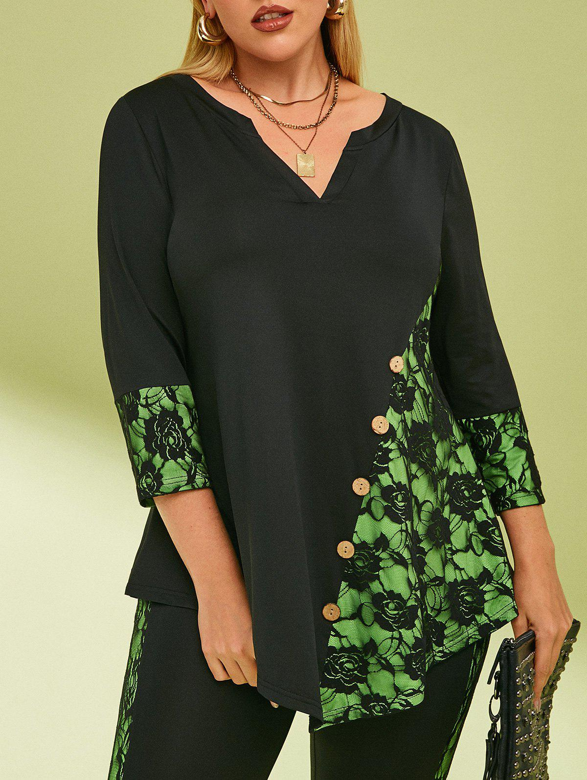Best Buttoned Notched Collar Lace Panel Plus Size Top