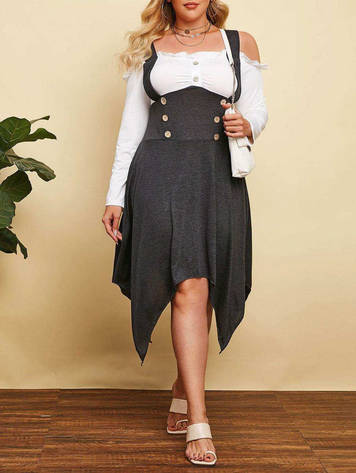 Hot Plus Size Cold Shoulder Hanky Hem Frilled Sailor Button Dress