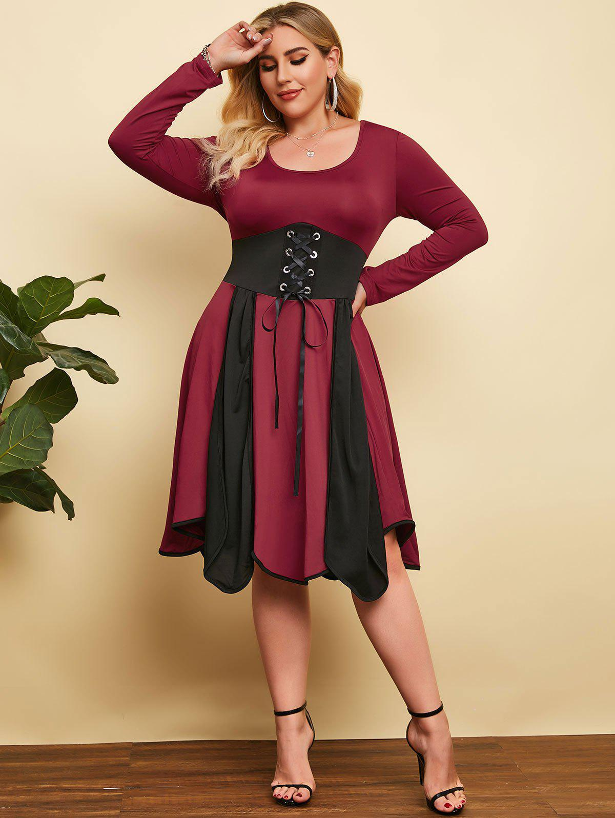 Buy Plus Size Two Tone Lace Up A Line Dress