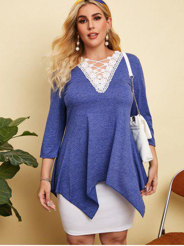Heathered Crochet Lace Panel Plus Size Top
