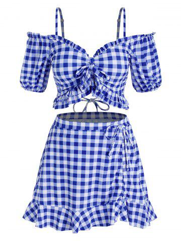 Plus Size Bowknot Gingham Cold Shoulder Three Piece Swimwear - BLUE - 5X