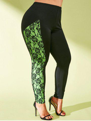 High Waisted Lace Panel Neon Side Plus Size Leggings - BLACK - 5X