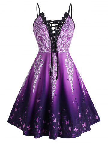 Plus Size Ombre Butterfly Lace-up Crochet Panel Cami Dress - PURPLE - 2X