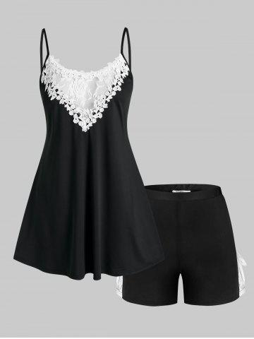 Plus Size Lace Panel Pajama Cami Top and Shorts Set - BLACK - 2X