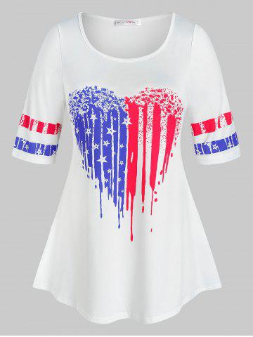 Plus Size Heart Pattern American Flag Print Tee - WHITE - 3X