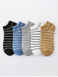 5 Pairs Preppy Style Stripes Pattern Ankle Socks Set -