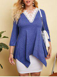 Heathered Crochet Lace Panel Plus Size Top -