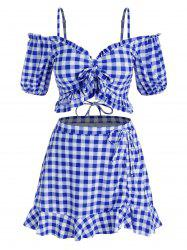 Plus Size Bowknot Gingham Cold Shoulder Three Piece Swimwear -