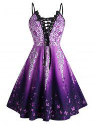 Plus Size Ombre Butterfly Lace-up Crochet Panel Cami Dress -