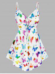 Plus Size Butterfly Print Cinched Tank Top -