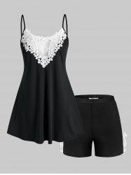 Plus Size Lace Panel Pajama Cami Top and Shorts Set -
