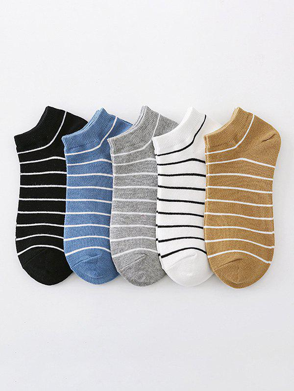 Latest 5 Pairs Preppy Style Stripes Pattern Ankle Socks Set