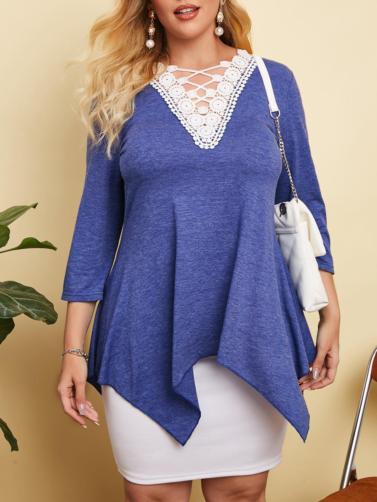 Hot Heathered Crochet Lace Panel Plus Size Top