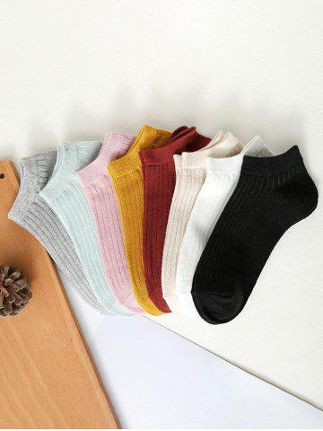 8 Pairs Ribbed Solid Sporty Ankle Socks Set