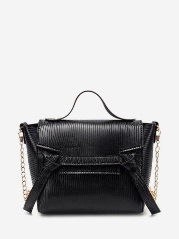 Chain Textured Knot Cover Crossbody Bag - BLACK