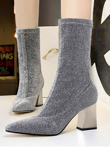 Glitter Pointed Toe Chunky Heel Boots - PLATINUM - EU 40
