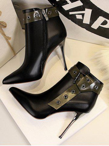 Stiletto Heel Pointed Toe Eyelet Buckle Boots - BLACK - EU 40