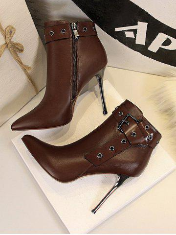 Stiletto Heel Pointed Toe Eyelet Buckle Boots - COFFEE - EU 40