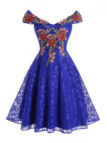 Lace Flower Applique Off Shoulder Foldover Dress - BLUE - 2XL