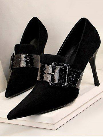 Suede Snake Print Buckle High Heel Shoes