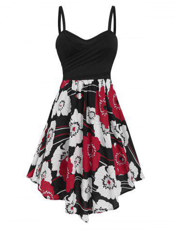 Flower Printed Cross Surplice Flare Dress