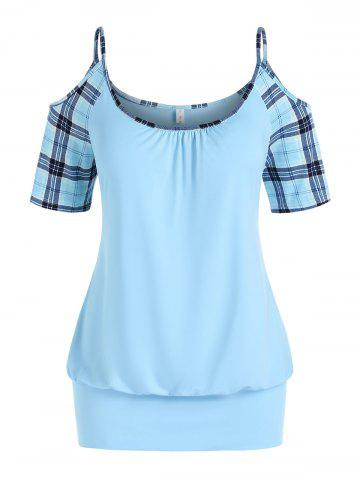 Plus Size Plaid Cold Shoulder Blouson Tunic T-shirt - LIGHT BLUE - 1X