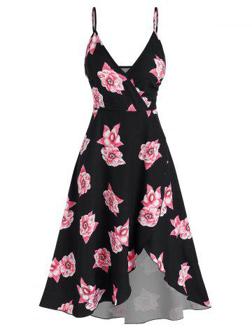 Floral Print High Low Midi Surplice Dress