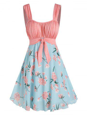 Holiday Pleated Front Knot Flower Printed Dress