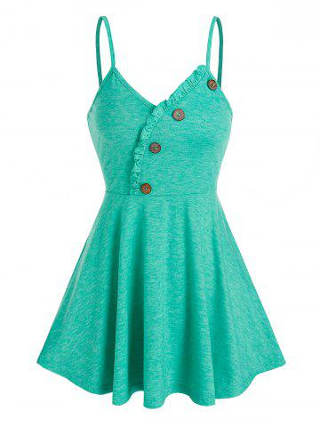 Ruffle Buttons Flare Cami Tank Top