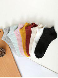 8 Pairs Ribbed Solid Sporty Ankle Socks Set -