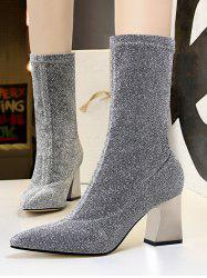 Glitter Pointed Toe Chunky Heel Boots -