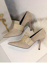 Suede Snake Print Buckle High Heel Shoes -