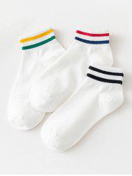 3 Pairs Stripes Pattern Cotton Ankle Socks Set -