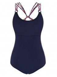 Striped Strap Ring One-piece Swimsuit -
