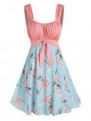 Holiday Pleated Front Knot Flower Printed Dress -