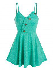 Ruffle Buttons Flare Cami Tank Top -