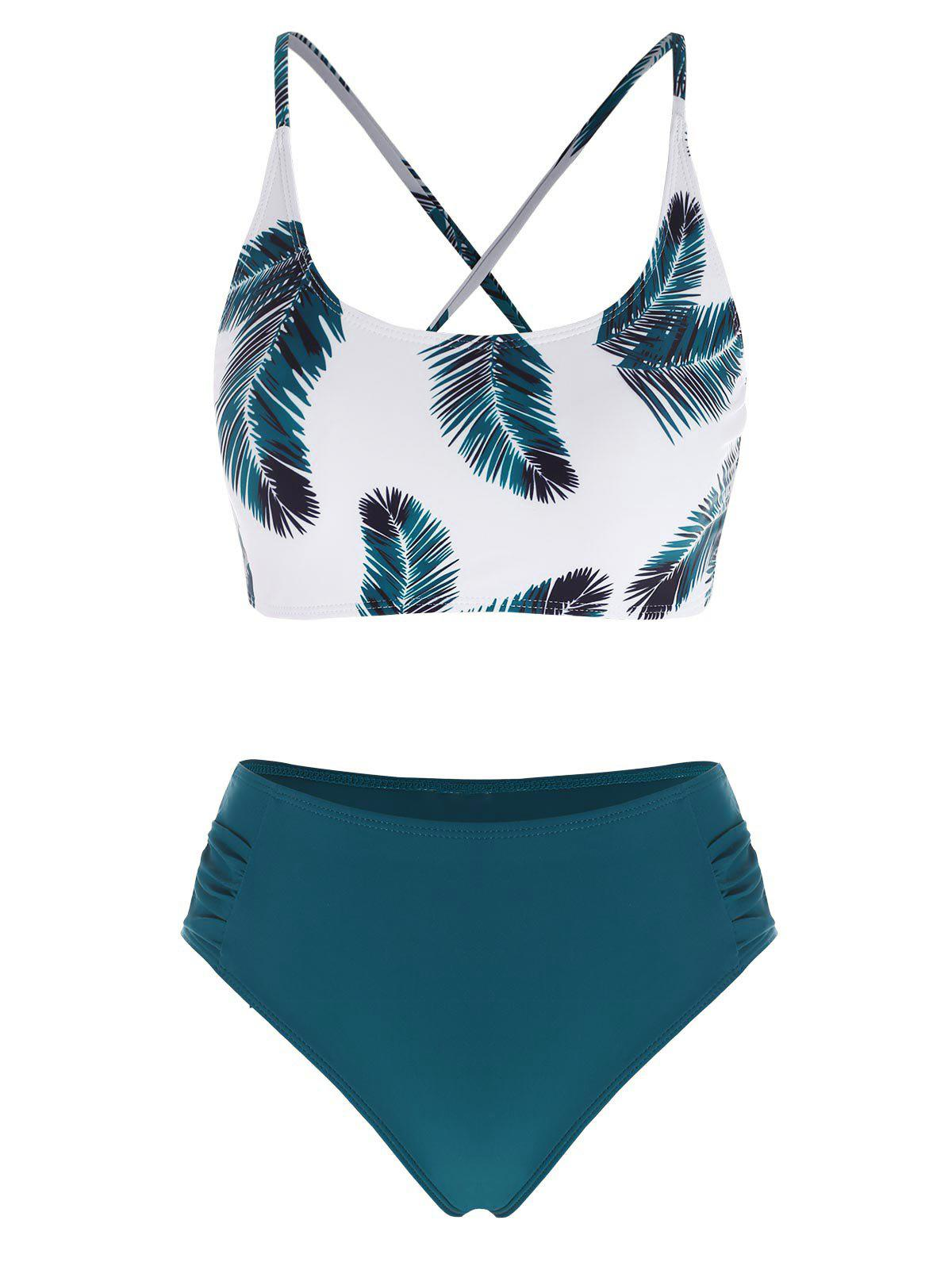 Lace Up Leaf Print Ruched Mix and Match Tankini Swimwear