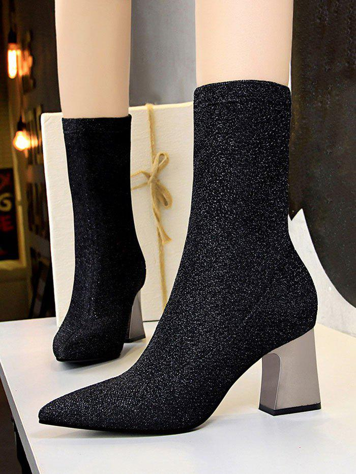 Fancy Glitter Pointed Toe Chunky Heel Boots