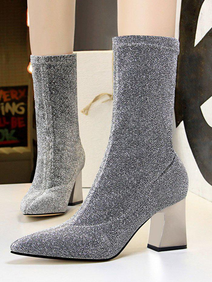 New Glitter Pointed Toe Chunky Heel Boots